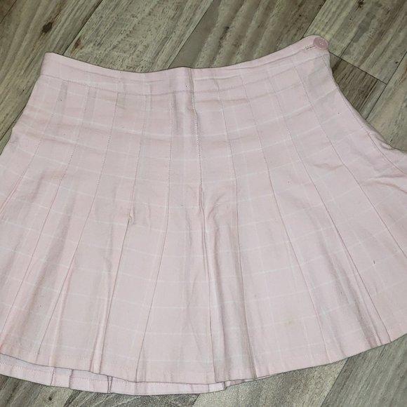 Forever 21 Pink Pleated Plaid/Tartan Skirt/Kilt